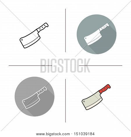 Butcher's knife icon. Flat design, linear and color styles. Cleaver. Chopper. Isolated vector illustrations