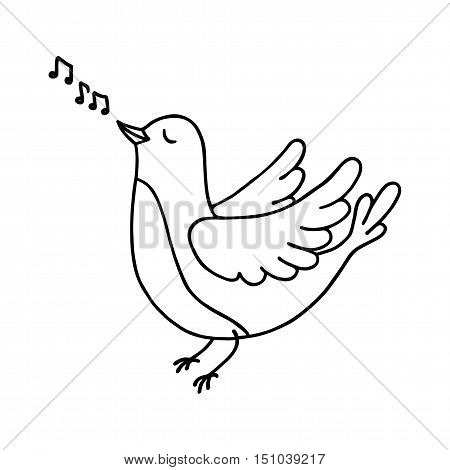 Cute bird singing. Vector illustration for coloring