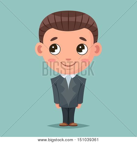 Business mascot good boy ready job cartoon design vector illustration