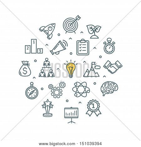Brainstorming Round Design Template Thin Line Icon Set Isolated on White Background. Vector illustration