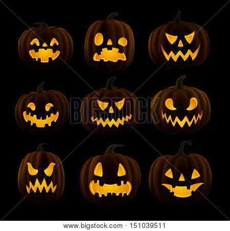 Set of Jack O Lanterns faces cut on pumpkin detailed illustration EPS.