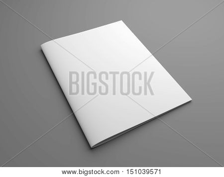Blank US letter brochure or magazine isolated on gray with shadows. 3D illustration mockup.