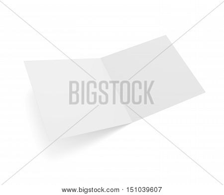 Open square format 3D illustration greeting card isolated on white. Empty mockup ready for card presentation.