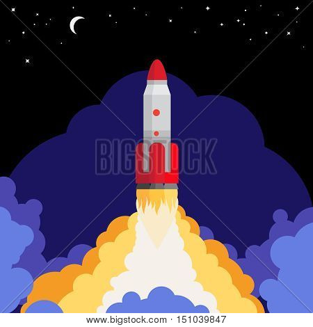 Space rocket launch against the night sky background vector illustration