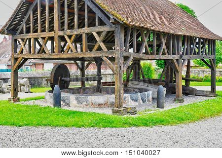 Neufchatel en Bray France - june 23 2016 : apple press in the Mathon Durand museum
