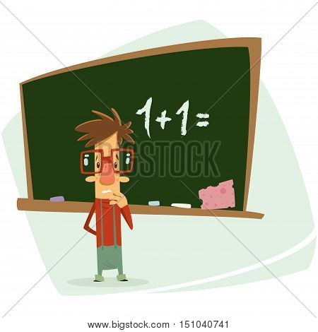 Vector illustration of a cartoon student geek boy with eye glasses in his classroom thinking unhappy and trying to calculate one plus two in front of dark green school chalkboard