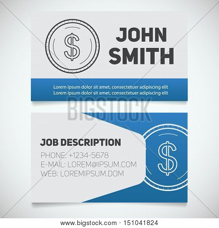 Business card print template with dollar coin logo. Easy edit. Accountant. Bank worker. Economist. Businessman. Stationary design concept. Vector illustration