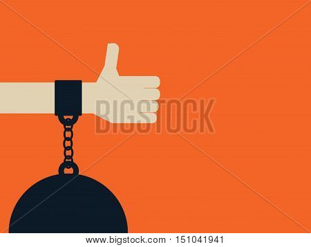Social media or networks addiction vector concept with hand and thumbs up chained to a ball. Eps10 vector illustration.