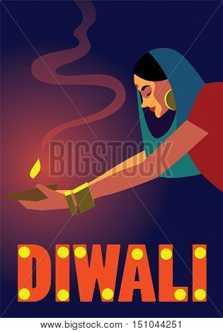 Happy Diwali Celebration. Traditional Festive concept vector illustration. Diwali concept poster. Ad layout for Diwali festival.