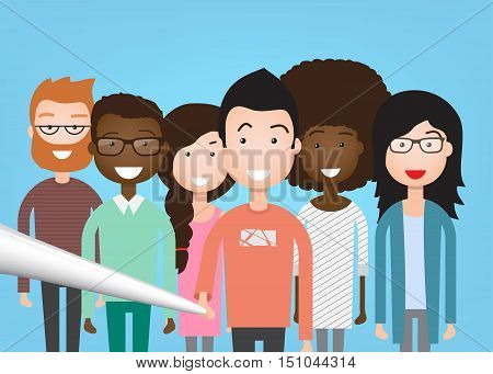 People Group Taking Selfie Photo On Smart Phone Mix Race Vector Illustration