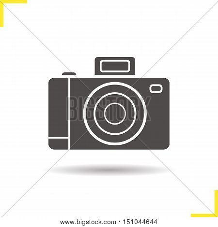 Photo camera icon. Drop shadow silhouette symbol. Slr vintage photocamera. Negative space. Vector isolated illustration