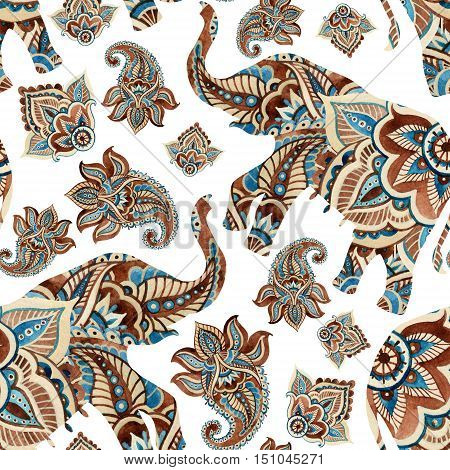 Watercolor ethnic elephant with paisley elements background. Abstract indian seamless pattern with paisley ornament on white background. Hand painted illustration for boho tribal design