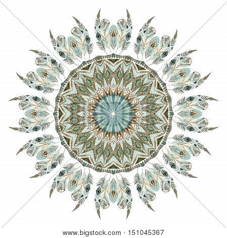 Watercolor ethnic feathers abstract mandala. Lace pattern with ornate feathers with geometric elements isolated on white background. Hand painted illustration for boho tribal design