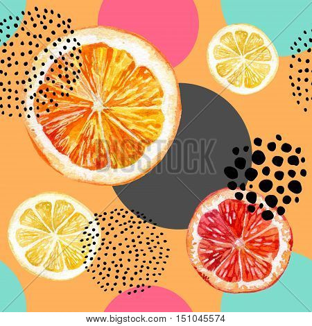 Watercolor fresh orange lemon grapefruit and colorful circles seamless pattern. Exotic fruits and abstract circles with grunge doodle textures on white background. Hand painted illustration
