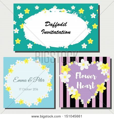 Floral cards design templates. Daffodil wreath and ornaments. Wedding invitation greeting card stores and shop advertisement design template