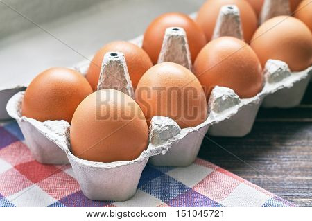 Chicken eggs in pulp egg carton on table