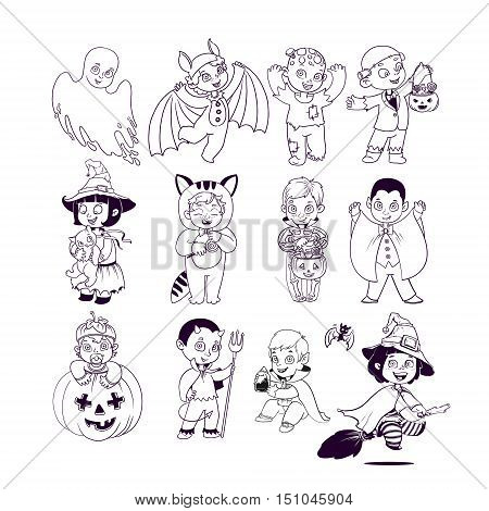 Happy Halloween. Kids in Halloween Costumes. Halloween Coloring Book. Illustration for children vector cartoon characters isolated on white background.