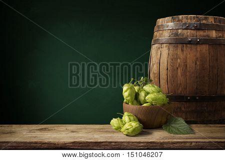 beer, cone, hop barley wheat table on brown