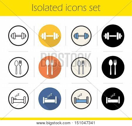 Healthy lifestyle icons set. Flat design, linear, black and color styles. Dumbbell, fork and spoon, bed. Sport and fitness, eatery and sleep symbols. Isolated vector illustrations