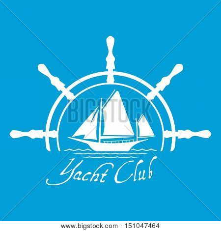 Flat Yacht Club Logo Icon With Helm. Boat Logo With Water On Blue Background. T-shirt Design Consept
