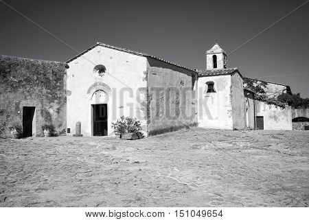 External view of the romanic church of Populonia (Tuscany, Italy), ancient etruscan village along the shores of the Tyrrhenian Sea (knew as Etrurian Coastline).