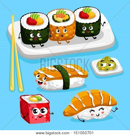 Cartoon funny sushi food characters isolated vector illustration. Funny food face icon. Sushi emoji. Funny roll, laughing sushi. Cartoon emoticon face of Japanese food. Funny food. Cute roll and sushi. Funny food cocept and smiling cute food. Cartoon food
