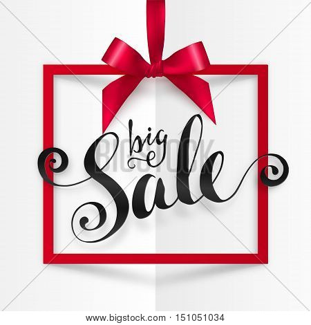 Big Sale vector calligraphic sign in red square frame hanging on silky ribbon with bow at white folded paper background