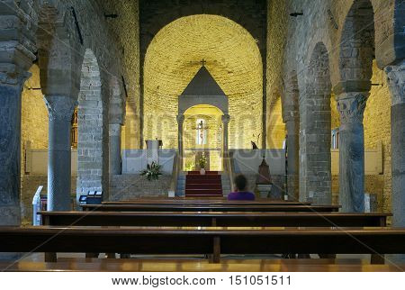 SAN LEO (RM), ITALY - AUGUST 18, 2016: view of the internal apse of the San Leo Church (Italy, Emilia Romagna, at the borders between Marche and Tuscany).