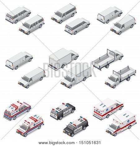 Minivan passenger cargo board mini truck commercial van special police and ambulance set isometric icons vector graphic illustration