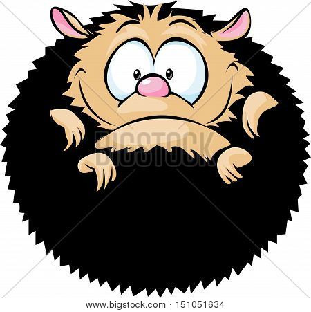 adorable hedgehog curled up - vector illustration