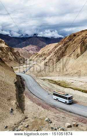 Indian passenger bus on NH-1 (Srinagar Leh national highway) in Himalayas. Ladakh, India