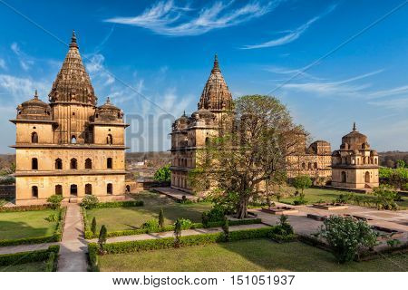 India tourist landmark - royal cenotaphs of Orchha. Orchha, Madhya Pradesh, India