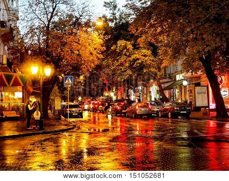 Odessa, Ukraine - October 4, 2016: Night City Street Lamps In The Light Of A Rainy Day. Creative Blu