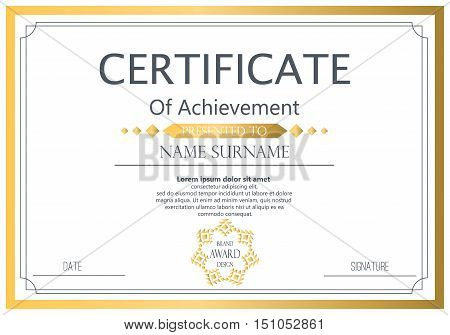 Vector certificate template. Vector award graduation certificate achievement success template border. Business paper coupon document certificate ornament elegant frame decoration.