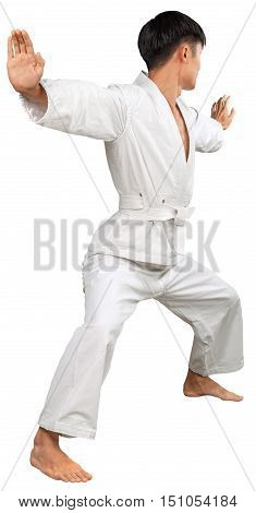 Portrait of a Young Asian Martial Artist Practicing