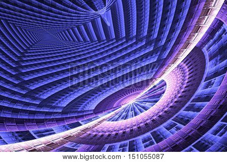 Abstract Bright Fractal Blue And Pink On Black