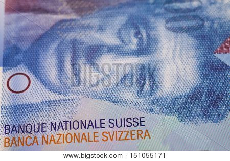 Swiss Franc note currency banknote close up