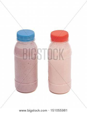 Biotic Yogurt Drink Bottles Isolated On White Background