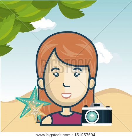 avatar woman smiling with photographic camera and seastars over beach background. vector illustration