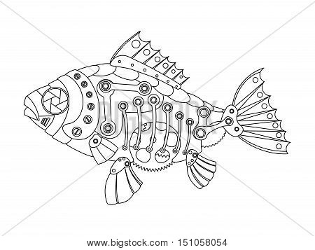 Steampunk style fish. Mechanical animal. Coloring book for adult vector illustration.