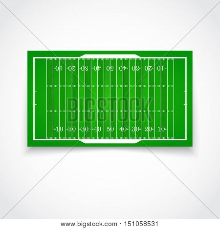 A realistic aerial view of official American football field Front view with reflection and marking, easily resizable Template for a website, mobile application, presentation, corporate identity design