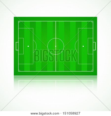 Football, soccer green, realistic, textured field. Front view with reflection and marking, easily resizable. Template for a website, mobile application, presentation, corporate identity design