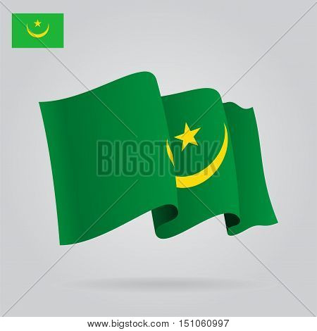 Mauritanian waving Flag. Vector illustration Eps 8