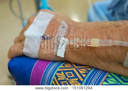 A Patient In The Hospital With Saline Intravenous