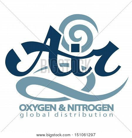 Abstract lettering for air. Air conditioning and services