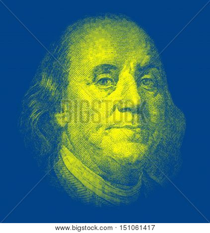 Portrait of Benjamin Franklinon on blue background