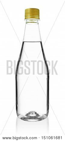 Drinking Water in the Long Neck PET Bottle isolated on white background
