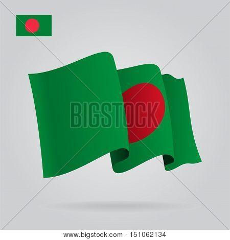Bangladeshi waving Flag. Vector illustration Eps 8