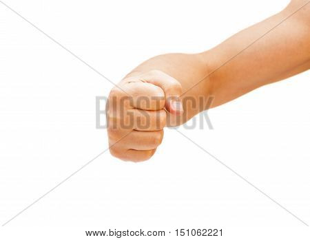 Hand with clenched a fist isolated on white background