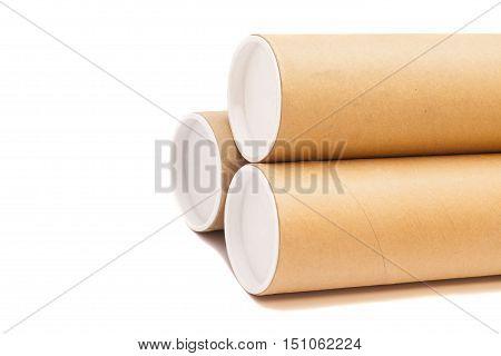Carton tube Isolated on a white backround
